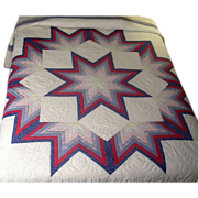 Quilt Hand Made &quot;Broken Star&quot; with &quot;Turkey Tracks&quot;  Whole Top Vintage 1920