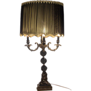 Hollywood Regency Chandelier Style Table Lamp Black and Gold