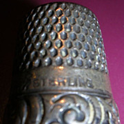 Sterling Silver Thimble Stern Bros Fouled Anchor  Relief Scrolls 1890