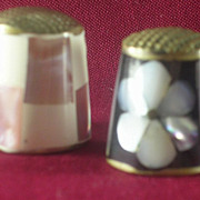 2- Mexican Silver Thimbles with Inlaid Abalone, Mother of Pearl and Agate