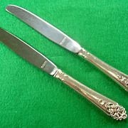 "2- Sterling Silver ""Queen's Lace"" (IS) Dinner Knives 1949-2003"