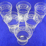 6- Bryce Vintage Stem 300 Needle Etched Juice Glasses