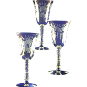 3- Libbey Rock Sharpe &quot;Shah&quot; Pattern on Stem #3007 Water Goblets ca. 1950