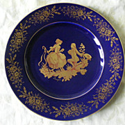 Limoges Cobalt Blue and Gilt Plate