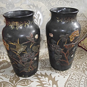 Pair of Oriental Bronze Vases With Chinoiserie Decorations