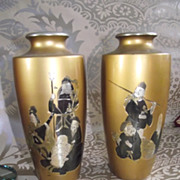 Pair of Oriental Vases Damascening or Shakudo