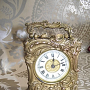 Carriage Clock By Ansonia in the Rococo Style Gold Finish