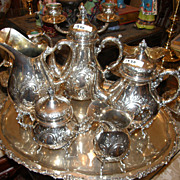 Fine WW II German .800 Silver Tea Service & Accessory Items 14 Pounds