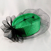 Vintage Neon Green Ladies Woven Straw Pill Box Hat with Black Bow and Netting