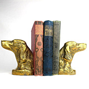SALE Brass Irish Setter Pointer Spaniel Dog Bust Bookends Pair -Korea