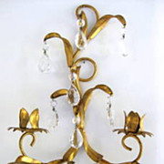 SALE Hollywood Regency Italian Florentine Gold Gilt Candle Sconce with Crystal Prisms