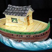 SALE Vintage �For My Cruise� Ceramic Boat Savings Coin Bank - Italy
