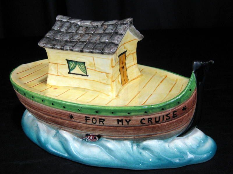 Vintage `For My Cruise' Ceramic Boat Savings Coin Bank - Italy