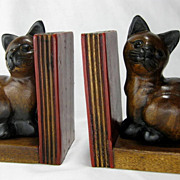 SALE Vintage Hand Carved Wooden Kitty Cat Bookends - Thailand