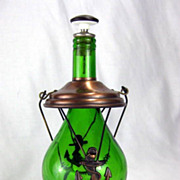 SALE Vintage Nautical Anchor Musical Green Glass Liquor Decanter Bottle � How Dry I Am