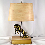 Vintage Metal Bucking Horse on Antiqued Book Table Lamp