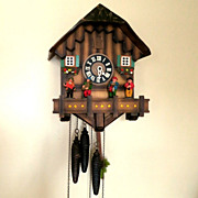 SALE Vintage Black Forest One-Day Chalet Musical Cuckoo Clock with Animated Oompah Band-West .