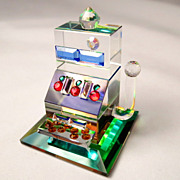 Vintage Collectible Miniature Crystal Slot Machine