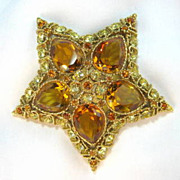 SALE Shining Domed Star KJL Topaz Crystal Rhinestone Brooch