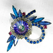 SALE Vintage Juliana D&E Floral Rivoli Rhinestone Blue/Raspberry Burst Brooch Earring Set