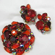 SALE Kramer Domed Brooch & Earring Set - Vibrant Red/Orange Rhinestone