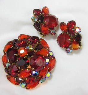 Kramer Domed Brooch & Earring Set - Vibrant Red/Orange Rhinestone