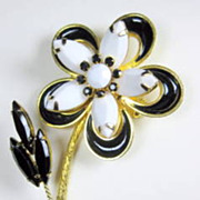 Vintage Jet Black and White Marquise Faceted Milk Glass and Enamel Flower Pin Brooch