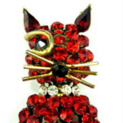 SALE Vintage 1950s Winking Cat Red Rhinestone Brooch Pin