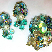Old Crystal Filigree Cluster Green AB Leaf Motif Brooch and Earrings Set