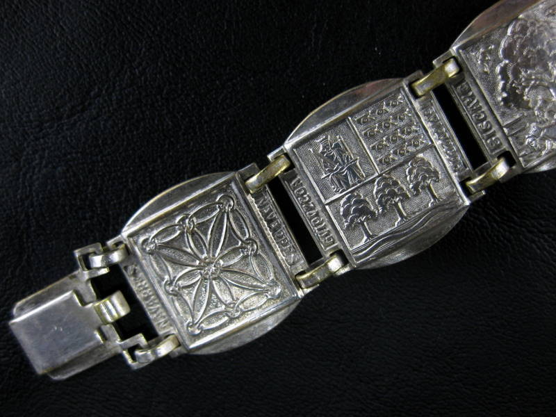 Vintage Coat of Arms Panel Link Bracelet Bijoux Basques Oritza Heraldry