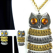 SALE Vintage Park Lane Colossal Articulated Owl Pendant Necklace and Earrings Set