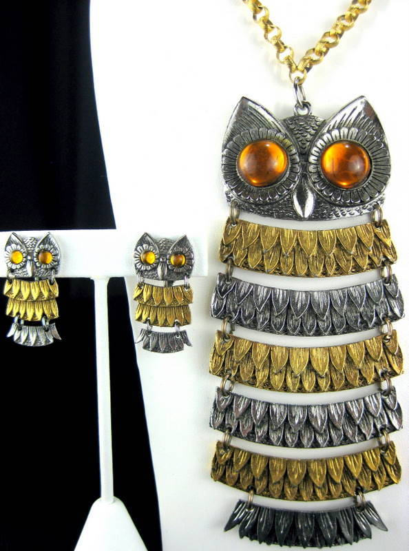 Vintage Park Lane Colossal Articulated Owl Pendant Necklace and Earrings Set