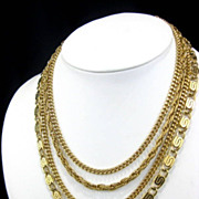 Vintage Monet Four Strand Chain Variety Vintage Necklace