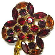 REDUCED Vintage Four Petal Flower Brooch with Multi  Shaped Rhinestones in Red, Purple, Amber 