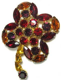 Vintage Four Petal Flower Brooch with Multi  Shaped Rhinestones in Red, Purple, Amber and Gold