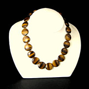 REDUCED Tigers Eye Stone Disc Bead Necklace with 14 K Clasp Signed Gold Stone Jewelry Corp