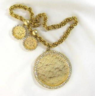 Large Vintage Rhinestone Medallion Gold Tone Necklace and Earring Set