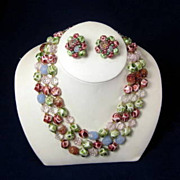 Vintage Japan Three Strand Glass and Plastic Necklace and Earring Set in Green Burgundy and Bl