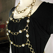 Vintage 60s Torso Body Chain Harness Link Necklace Faux Pearl Bead