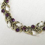 Vintage Lisner Purple Rhinestone and Faux Pearl Leaves Link Necklace