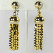 Vintage Whiting & Davis Gold Tone  Metal Mesh Dangle Earrings
