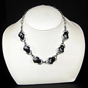 Vintage Emmons Silver Tone Black Thermoset Link Necklace