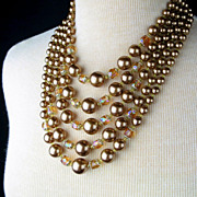 Vintage 5 Strand Bronze Faux Pearl Carnival Glass Japan Necklace