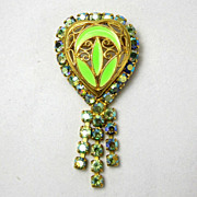 SALE Vintage Neon Green Enamel AB Rhinestone Filigree Heart Shaped Brooch Pin