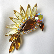 Vintage DeLizza and Elster Verified Juliana Figural Bird Rhinestone Brooch