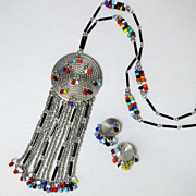 Vintage Southwest Silver Tone Bright Glass Bead Fringe Medallion Necklace and Earring Set