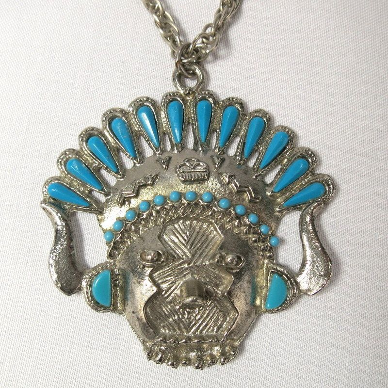 Vintage Tribal Face Faux Blue Turquoise Silver Tone Cast Metal Necklace