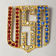 Vintage Patriotic Acronym USA Red White and Blue Rhinestone Brooch / Pin