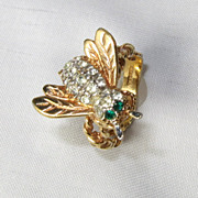 Vintage Bee Insect 18K Gold Filled Rhinestone Ring