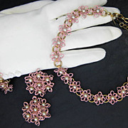 Vintage Pink Enamel over Metal Flower and Faux Pearl Set
